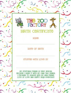 zoo factory birth certificate