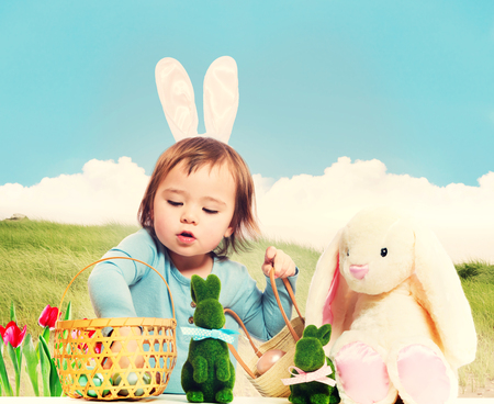 Toddler with Stuffed Bunny