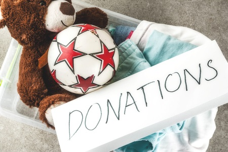 Donation box with Stuffed Animal