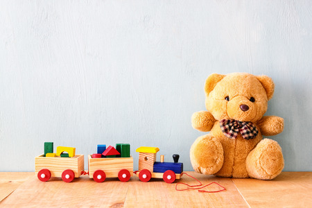 Teddy Bear and Wooden Train