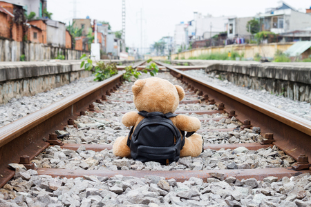 Teddy Bear on Train Tracks