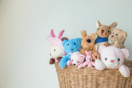 Stuffed Animals in a Wicker Basket