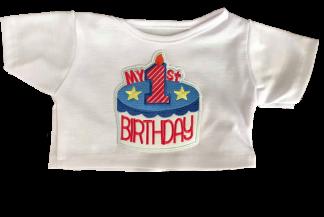 Blue my 1st birthday t shirt for stuffed animals