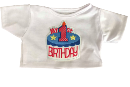 Blue my 1st birthday t shirt for stuffed animals