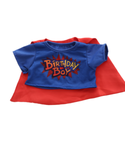 Birthday Boy T-Shirt and Cape for Stuffed Animals