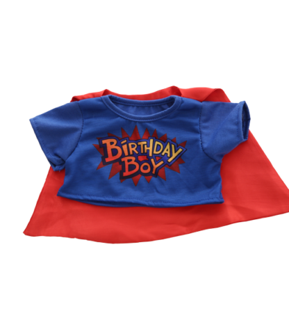 Birthday Boy t-shirt with Cape for Stuffed Animals
