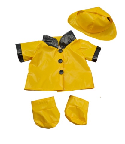 Yellow Rain Slicker with Hat and Boots for Stuffed Animals