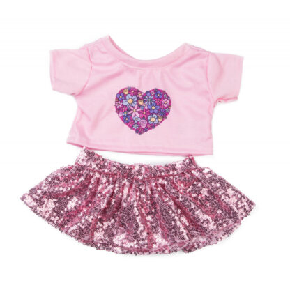 Pink Flower Top and Skirt for Stuffed Animals