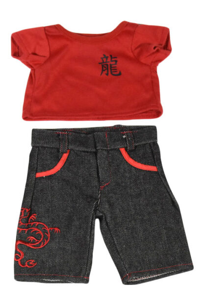 Red T-shirt and Dragon Jeans for Stuffed Animals